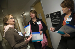 Members of the California Association of Nurse Practitioners wait for a legislator meeting on their annual lobby day.